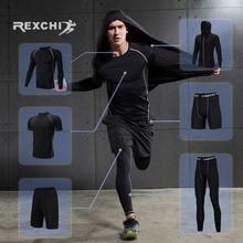 7928f8510a8c8a REXCHI 6 sztuk/zestaw męska dres kompresji strój sportowy Gym odzież  fitness bieganie Jogging Sport