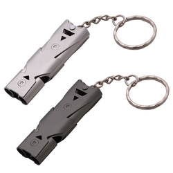 High Quality Double Pipe High Decibel Stainless steel Outdoor Emergency Survival Whistle Keychain Cheerleading Whistle