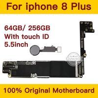 Para iphone 8 plus 64 gb/256 gb placa-mãe com sistema de impressão digital ios  para iphone 8 plus placa lógica mainboard com chips