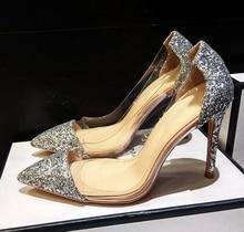 купить Big Sale Silver Glitter Heels Pumps Women Shoes Pointy Toe PVC Transparent Wedding Shoes Bride Slip-on High Stiletto Heels Shoes по цене 5042.1 рублей