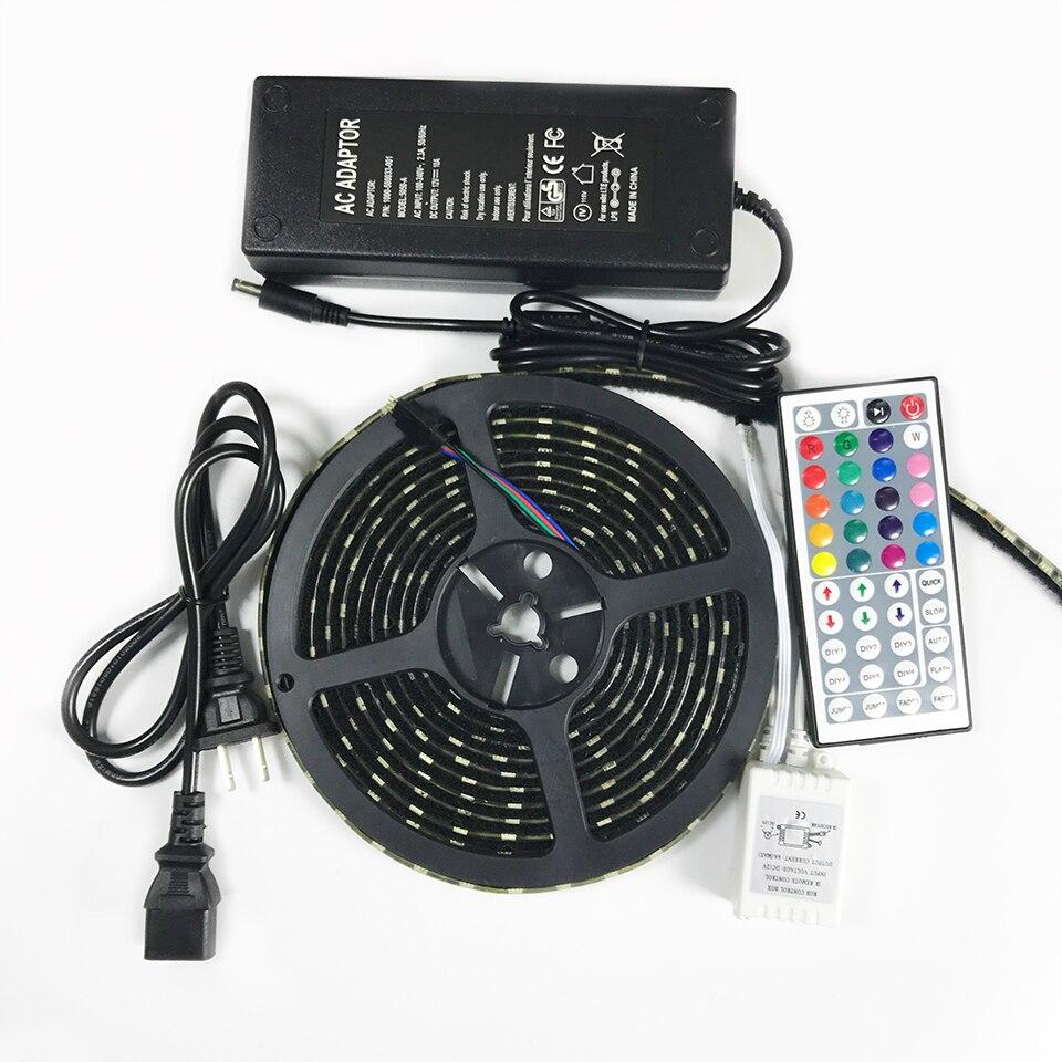 Bâche de voiture led rgb kit bande lumière 5 mètres SMD5050 avec bande en nylon 12 V 5A adaptateur and24/44Key IR 300 leds crochet et boucle