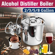 2/3/5/8 Gallon DIY Home Brew Distiller Moonshine Alcohol Still Stainless Copper Water Wine Essential Oil Brewing Kit With Cooli(China)