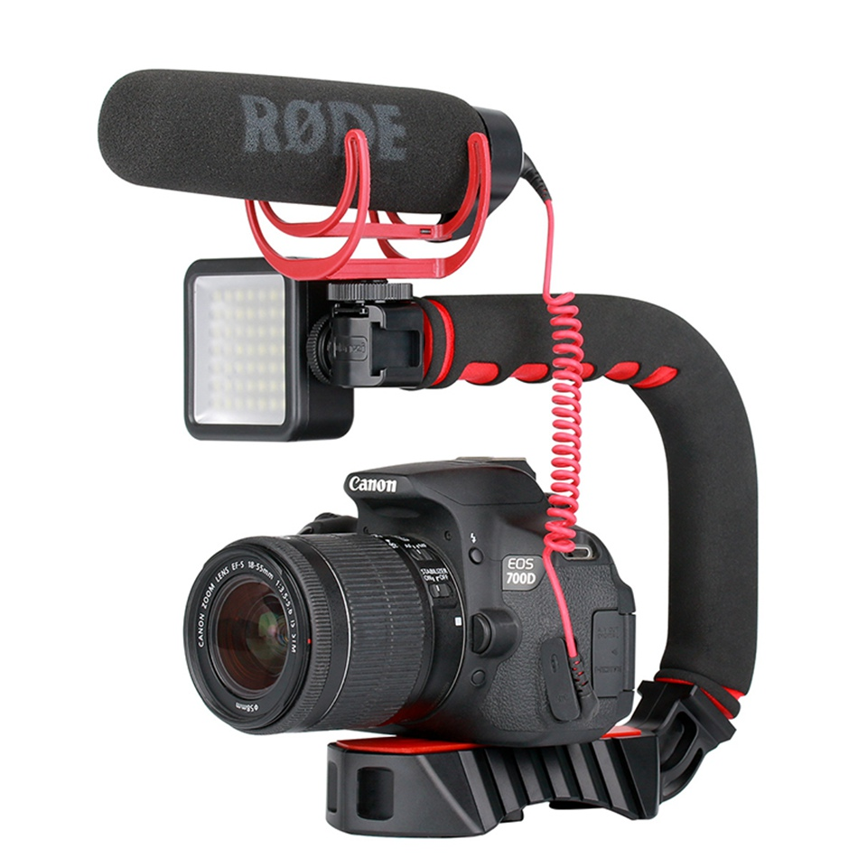 Ulanzi U-Grip Pro Mini Handle Stabilizer with Triple Cold Shoe Mount Camera Smartphone Video Portable Gimbal for DSLR  Mobile