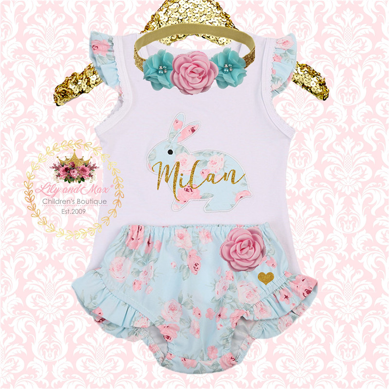 9d88e781e PUDCOCO Cute Lovely Newborn Baby Girls Easter Bunny Romper Pants Shorts Outfits  Clothes Set 2PCS