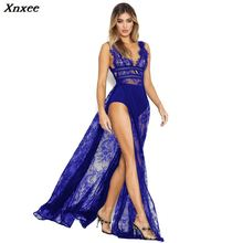 Xnxee Eyelash Sheer Lace Maxi Club Party Dress Women Sexy Plunge V Neck Sleeveless Open Back High Slit Long Dress Vestidos 2019 semi sheer sleeveless open back elastic waist playsuit with lace details