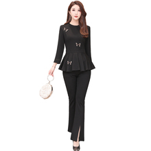 women suit spring new Korean fashion 2019 autumn O neck top & wide-legged pants two-piece clothing set outfit design brand M-XXL