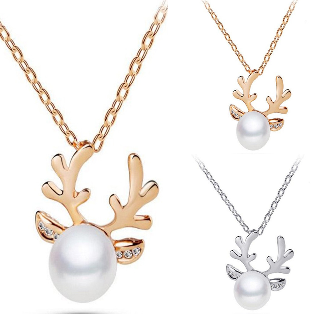 2018 Pearl Elk Necklaces Chic Acc Fashion Xmas Christmas Pearl Deer Women Necklace Antler Pendant Models Lovely Gold Color Acc