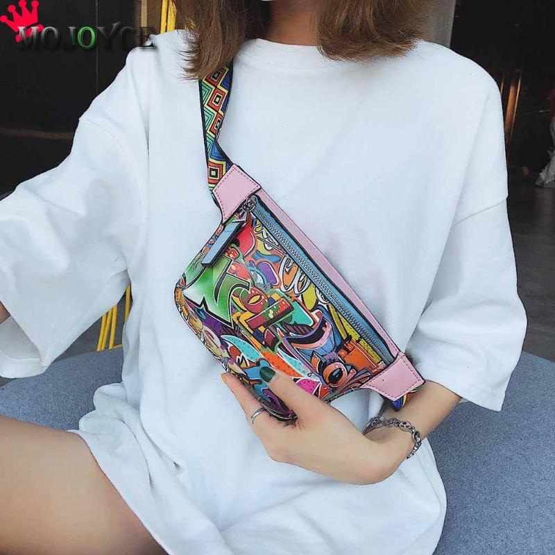 2018 Mode Frauen Taille Pack Graffiti Druck Pu Leder Fanny Pack Bunte Casual Gürtel Tasche Für Weibliche