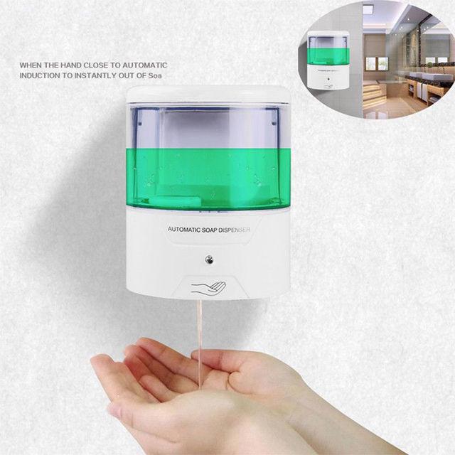 Dispensador de jabón automático con Sensor IR de montaje en pared, sin contacto, surtidor de loción y jabón para cocina y baño, con batería de 600ml