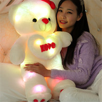 Creative Light Up LED Teddy Bear Stuffed Animals Plush Toy Holding LOVE Heart Colorful Glowing Bear Valentine Day Christmas Gift