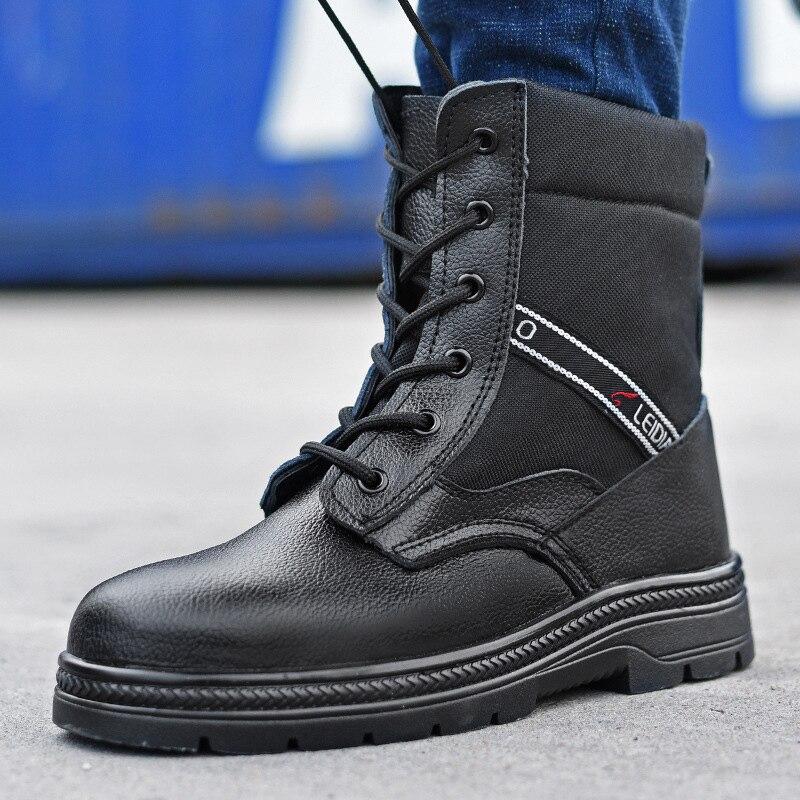 Chaussures Militaire En Plus Boot Homme Travail Pour Tactique Indestructible Sécurité Étanche Cuir Le Hommes without À De Embout D'acier Bottes Plus Velours eWH2YbED9I