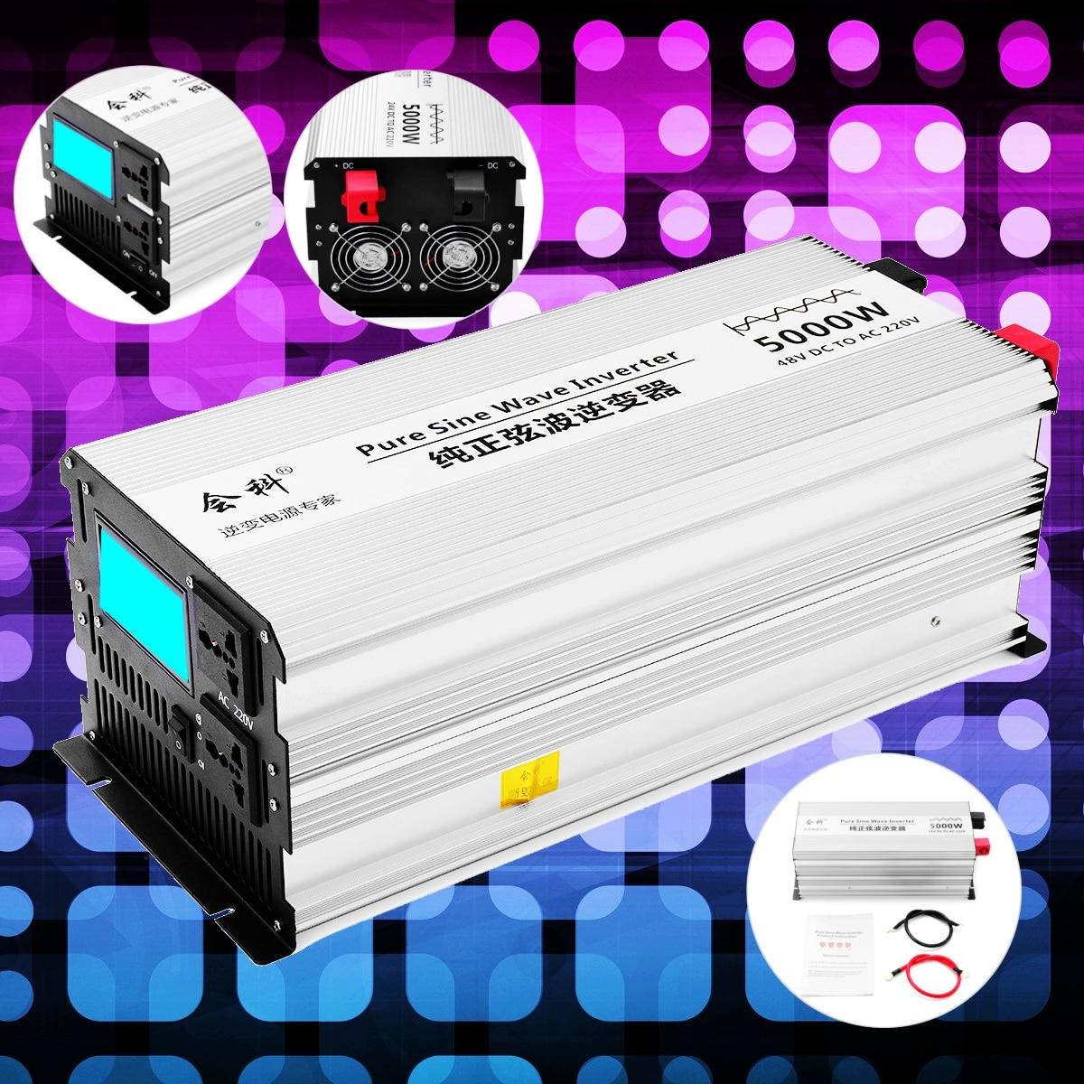 Onduleur onde sinusoïdale pure 2500 w 5000 w P eak 50 hz DC 12 v/24 v/48 v à AC 110 v/220 v Tension Transformateur Converte ecran LCD Inverter