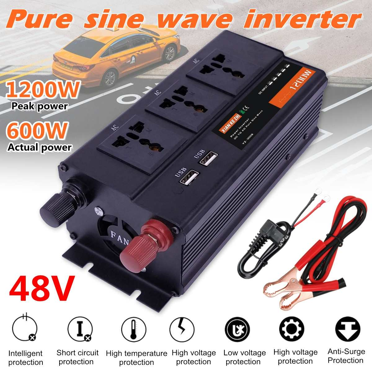 1200W Peaks Power Inverter DC 48V To AC 220V 50Hz Pure Sine Wave Inverter LED Display W/ 3 Socket 2 USB1200W Peaks Power Inverter DC 48V To AC 220V 50Hz Pure Sine Wave Inverter LED Display W/ 3 Socket 2 USB