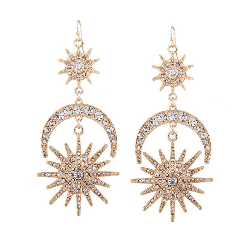 Big Luxury Sun Moon Stars Drop Earrings Rhinestone Punk Earrings For Women Jewelry Golden Boho Vintage Statement Earrings