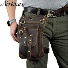 Norbinus мотоциклетная облегающая сумка из натуральной кожи, Мужская поясная сумка-мессенджер на плечо, набедренный ремень, крюк, Фанни-пакеты, сумка