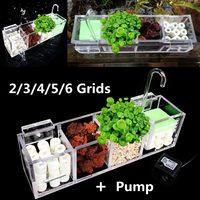 Fish Tank Aquarium Filter Box Water Pump 2 6 Grids Acrylic External Hanging Water Purifier Aquatic Pet Cage Filter Supplies Tool