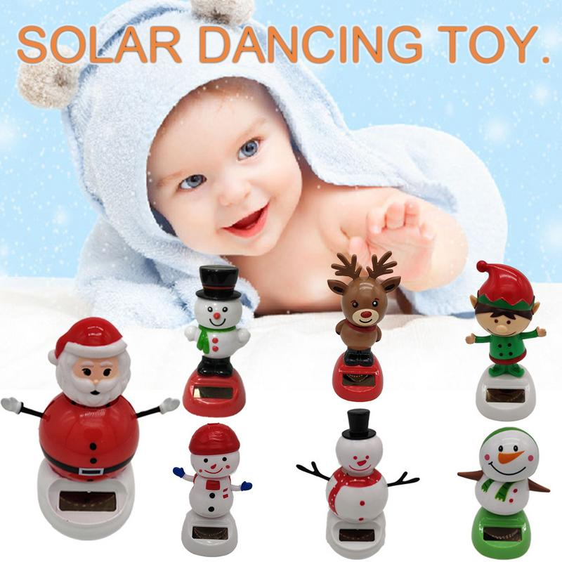 New Popular Solar Auto Swing Toy For Car Decoration Powered Dancing Animal Swinging Dancer Decor Snowman Christmas Toy