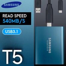 Samsung Внешний SSD T5 250gb 500g 1T 2T внешний твердотельный Hd жесткий диск Usb 3,1 Gen2(10 Гбит/с) и обратная совместимость для ПК