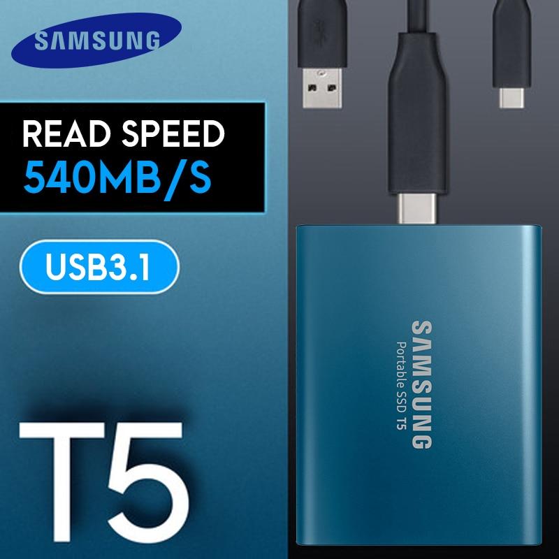 Samsung SSD Externe T5 250 go 500g 1T 2T Externe Semi Hd Disque dur Usb 3.1 Gen2 (10 gbit/s) Et Rétrocompatible Pour PC