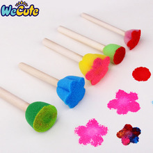 Wecute 5Pcs Creative Sponge Brush Children Art DIY Painting Tools Baby Kids Funny Colorful Flower Pattern Drawing Toys Gift