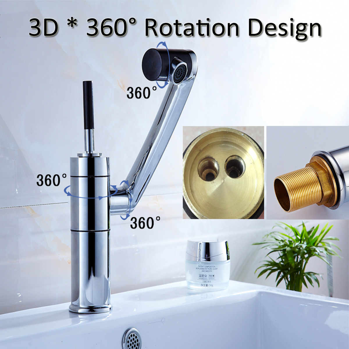 Water Faucet Chrome Basin Faucet Tap for Home Kitchen Bathroom Single Handle 360 Rotate Hot Cold