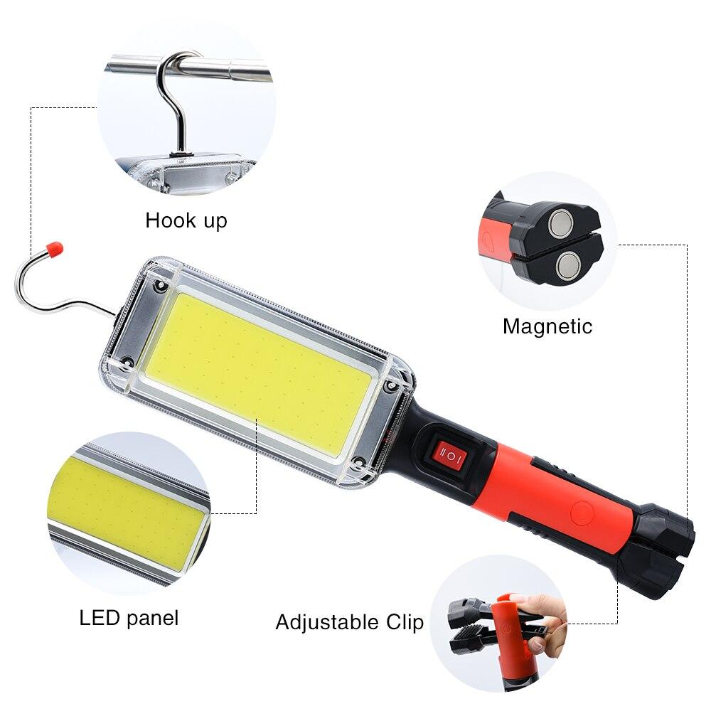Diodo emissor de luz trabalho cob holofote 8000lm recarregável uso da lâmpada 2*18650 bateria led portátil luz magnética gancho clipe à prova dwaterproof água