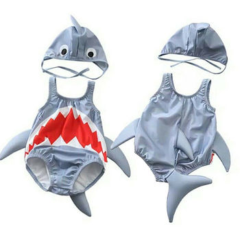 9669a5ed2 Niño niños bebé niña de dibujos animados de niño tiburón 3D traje sombrero  2 piezas trajes de baño traje de baño para 1-6Y
