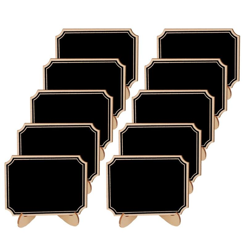 10Pcs/Lot Wooden Mini Blackboard Chalkboard Message Craft Supplies Calkbourd Signs Wedding Decor Framed Table Number Stand