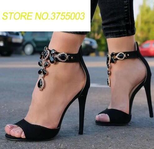 Faux Gland Femme Sexy Toe Sandales Cuir Size42 Mode Peep Dames Femmes Haute Cristal Parti Talons Stiletto En Noir Daim vXrxwZvq