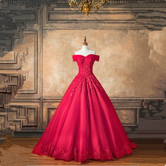 2ebdb537a8 Saudi Arabic Dubai Red Wedding Dresses Lace Beading Bridal Gowns Sweetheart  Off Shoulder chapel Train Vestido De Noiva 2019
