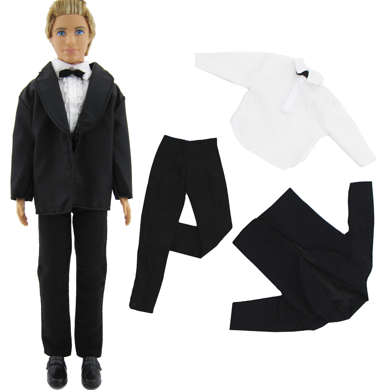 3in1 Handmade Formal Business Suits Tuxedo Black Coat White Shirt Bowknot Pants For Barbie Friend Ken Doll Clothes Accessories denim