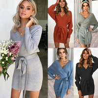 may leaves love high quality long sleeve sexy v neck lace up winter dresses women 2018 bandage dress celebrity bodycon dresses