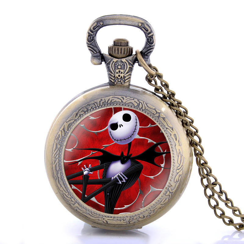 Nightmare Bronze Steampunk Style Fob Watch Vintage Chain Watch With Necklace Quartz Pocket Watch Men Pendant Women Watches
