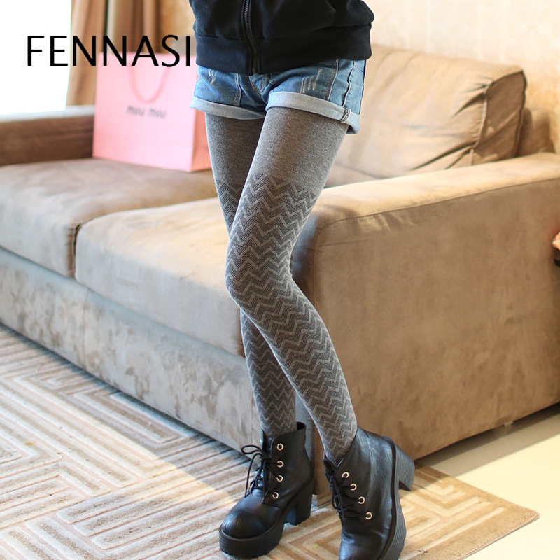 FENNASI Sexy Winter Women   Leggings   Thick Warm High Waist   Leggings   Print with Wave Striped Cotton   Leggings   Casual Leg Warm Pants