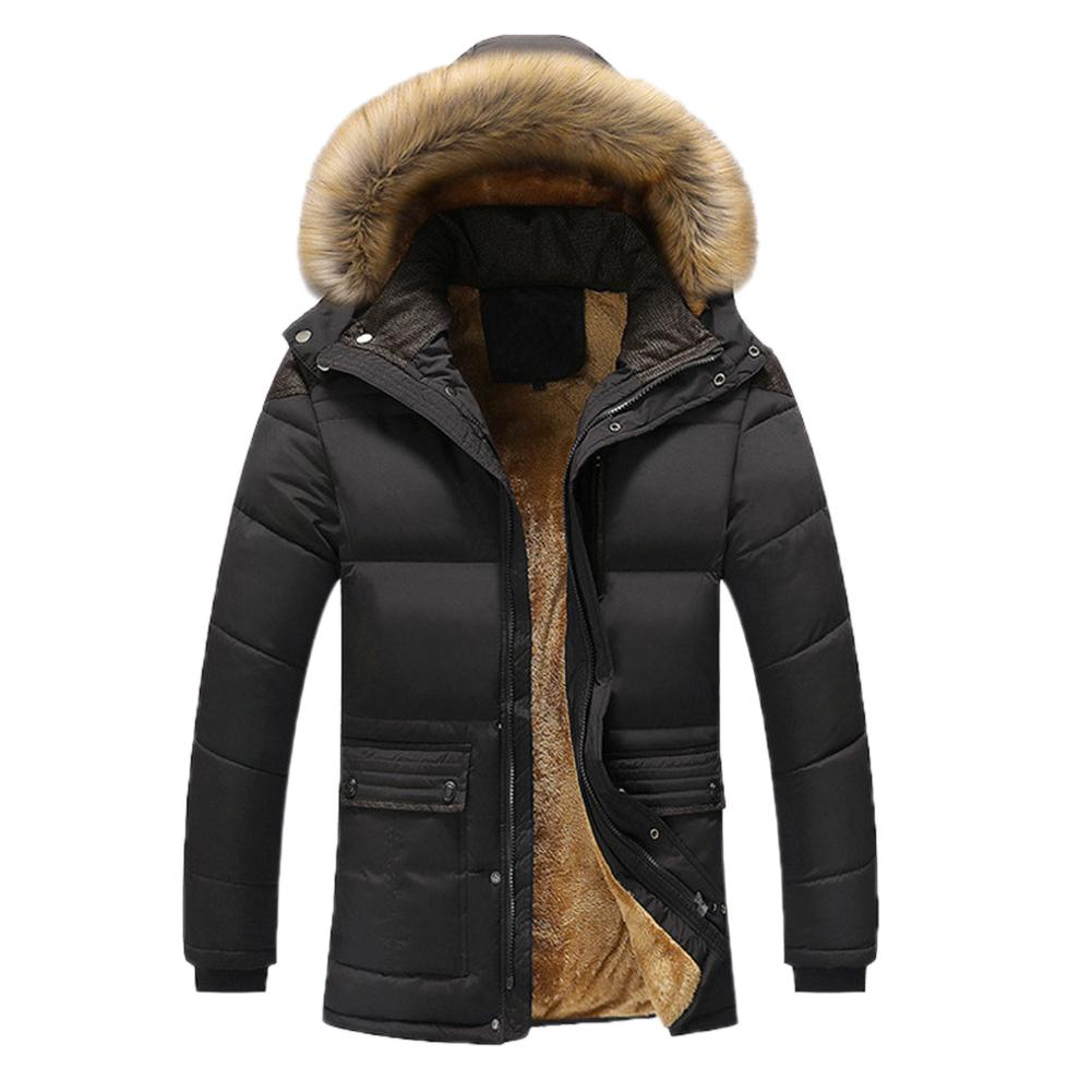 Brand Design Men Winter Warm Thick Plush Collar Hooded Jacket Male Casual Fleece Lined Coat Parka Outerwear Clothing With Pocket