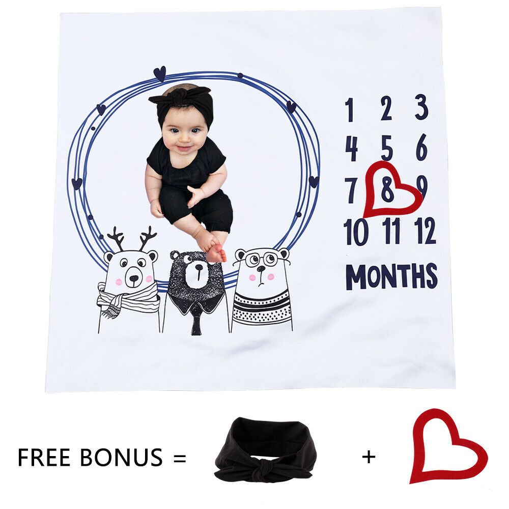2019 Newly Funny Cute Newborn Baby Number Milestone Blanket For Photography Photo Props Shoots Set Studio Headwear