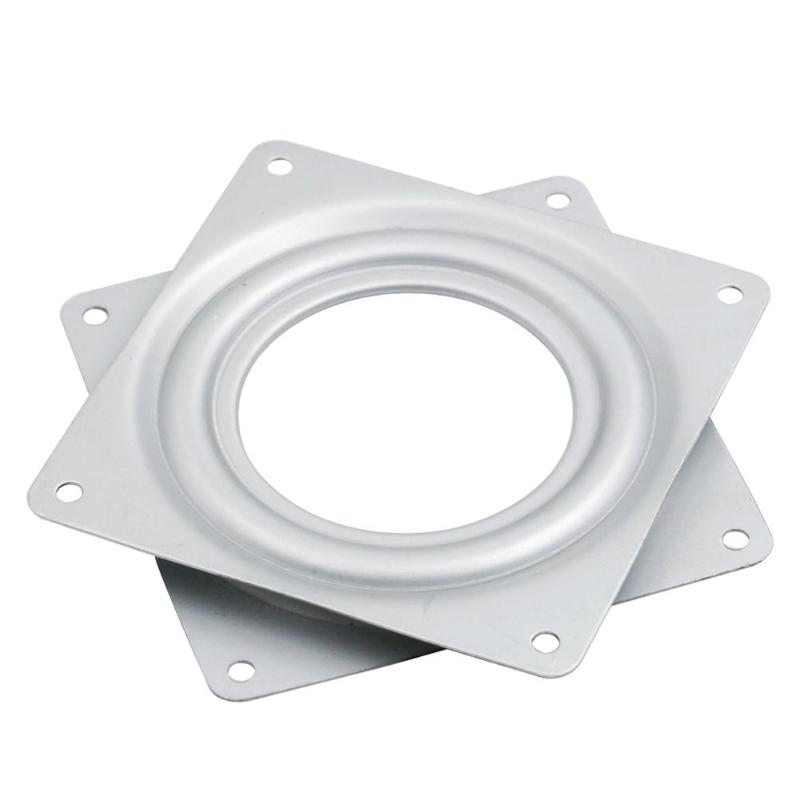 Swivel Plates 3 Inch Square Home Plates Bearing 360 Degree Rotating Turntable Hardware Fitting White Desk Furniture Iron For Dining Table Furniture Hardware