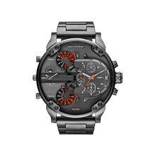Новый бренд класса люкс Большой циферблат для мужчин's Военная Униформа кожа повседневные из нержавеющей стали спортивные бизнес металлические часы мужчин