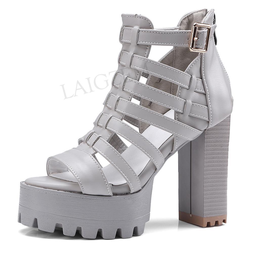 LAIGZEM mode femmes sandales talons Chunky sandales sangles arrière fermeture éclair Faux cuir dames chaussures été femme grande taille 33-45