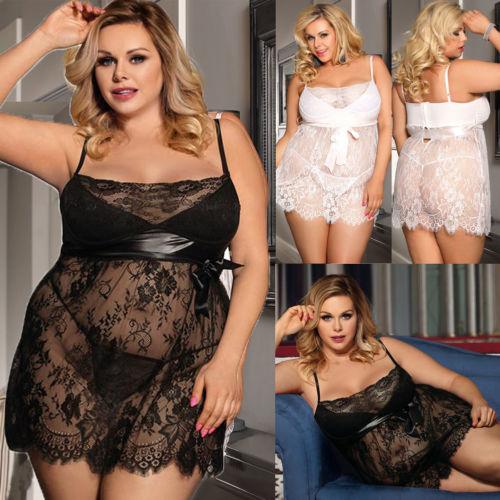 Women Sexy Lingerie Lace Dress Blue Underwear Sleepwear+G-String Nightwear