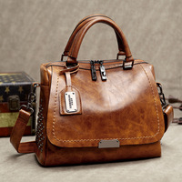 LUYO Vintage Boston Rivet Oil Wax Genuine Leather Luxury Handbags Women Messenger Bags Designer Shoulder Bag Female Postman Tote