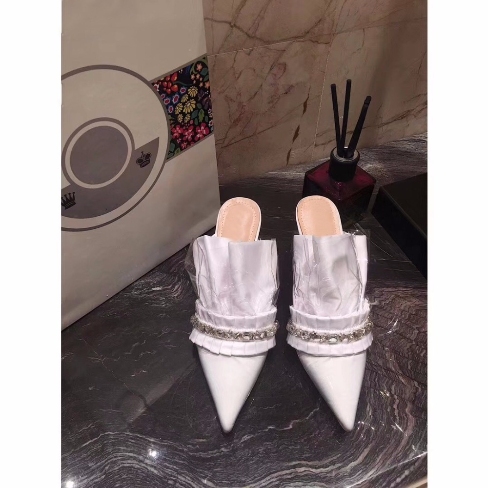 Ins as Mujer Punta Mulas Bombas Diseñador As Zapatos Alto Pic Pic Marea Volantes Cuero De Fiesta Tacón Sandalias Caliente Plisado tr4Uqwr