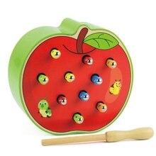 3D познавательный пазл развивающий игрушки Цвет деревянные игрушки магнитная Caterpillar животных дошкольного образования поймать червь игры