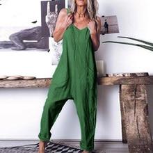 Women ladies jumpsuit Summer Holiday Loose Splice Sleeveless Sling oversize XL~4