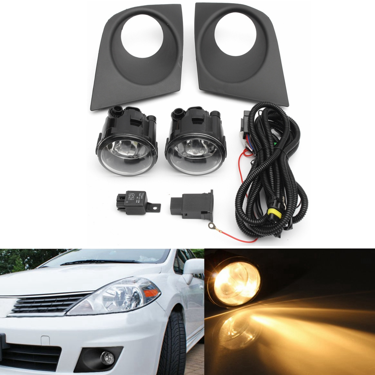 1 pair car front bumper grille h11 fog light bulb with switch wire for nissan versa 2007 2008 2009 2010 2011 fog lamps [ 1200 x 1200 Pixel ]