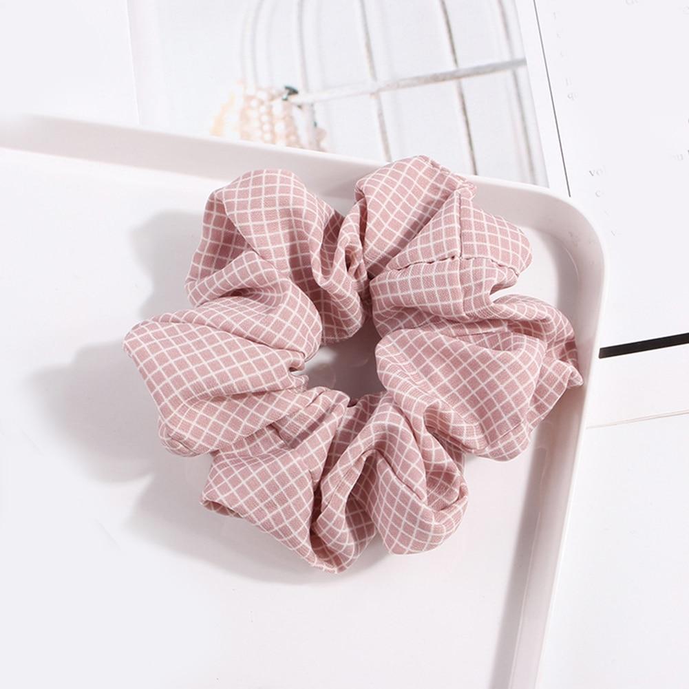 Korean Sweet Net Plaid Elastic Hair Bands Scrunchies Hair Rope Ties For Girls Women Ponytail