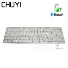 Ультра тонкая беспроводная Bluetooth клавиатура перезаряжаемая клавиатура с тачпадом клавиатура для ПК ноутбука планшета Android Macbook Pro