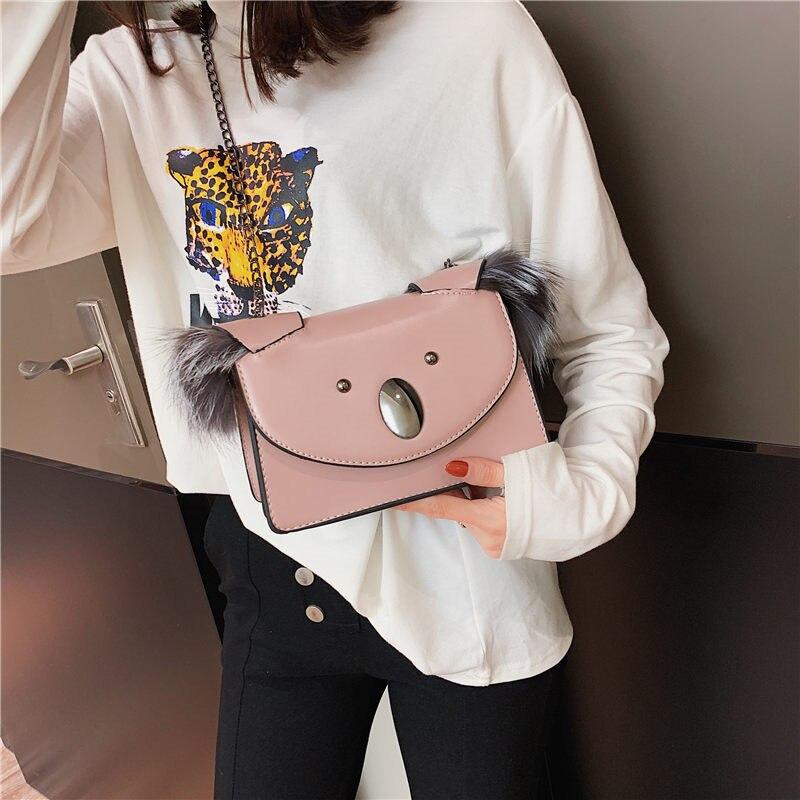 Luxury Flap Bag for Women Messenger Bag Leather Handbags Female Small Crossbody Shoulder Bags Luxury Fur Shoulder Messenger Bags