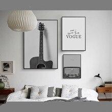 Lienzo decorativo Vintage pintura guitarra con radio Vogue pared arte nórdico minimalista gris carteles e impresiones jardín cocina Quadro
