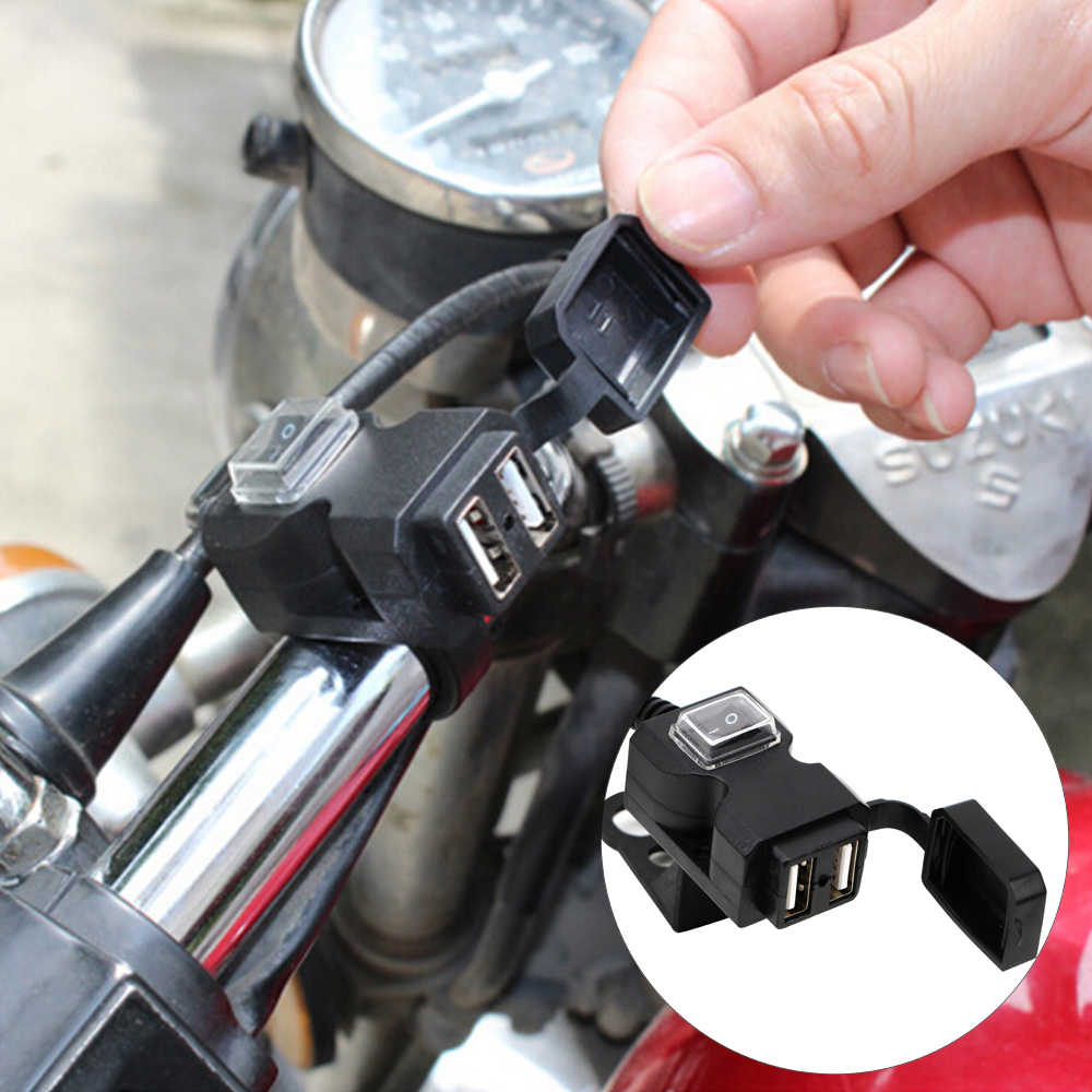 Motorcycle USB Socket Dual USB Port for Phone GPS Motorbike Handlebar Charger 5V 1A/2.1A Adapter Power Supply Socket Waterproof